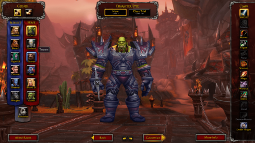 Select class screenshot of World of Warcraft video game interface.