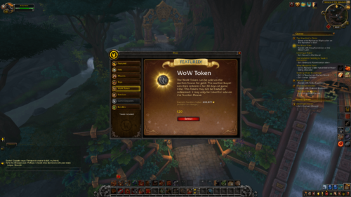 Wow token screenshot of World of Warcraft video game interface.